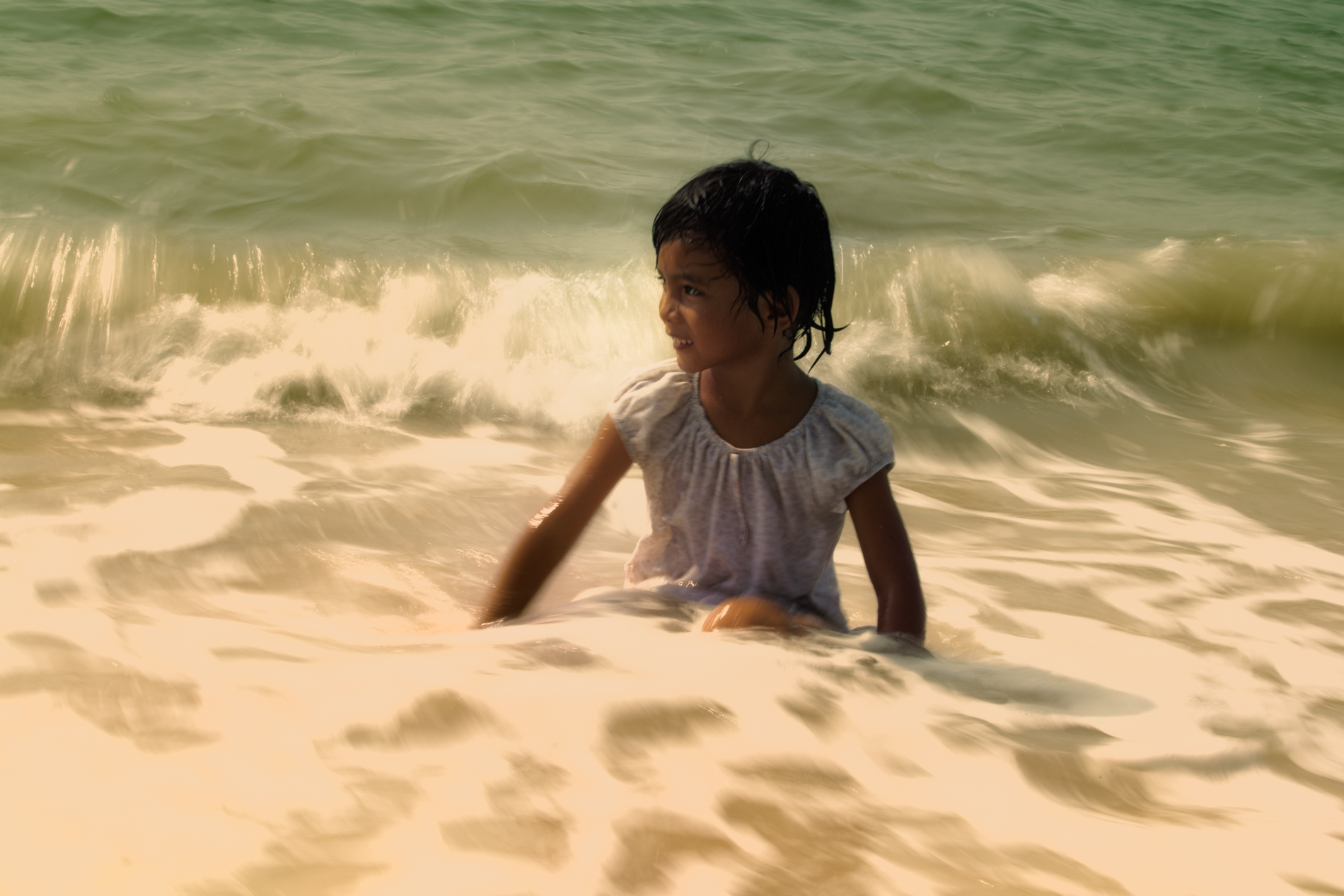 Malaysian child in the waters of Penang
