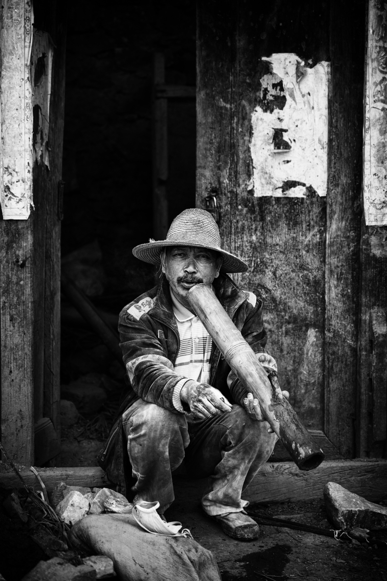 seated worker on a smoke break